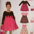 NEW LOOK #6771 Uncut Sz 3-8 Party Dresses & Purse Sewing Pattern