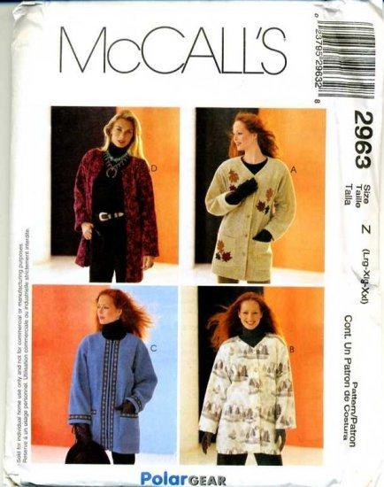 MCCALLS #2963 Uncut Sz Sm-Lg Oversized Jacket Sewing Pattern