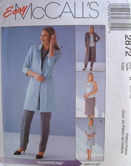MCCALLS Sewing Pattern #2872 Sz 10-14 Jacket, Top, Pants & Skirt