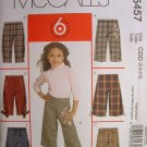 MCCALLS #5457 Uncut Sz 2-5  Girl's Pants & Belt Sewing Pattern