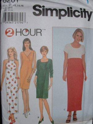 "Simplicity #8201 Uncut Size 12-16 ""2-hr"" Knit Dresses Sewing Pattern"