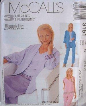 MCCALLS OOP#3151 Uncut Sz 8-12 Jacket. Top. Pants & Skirt Sewing Pattern