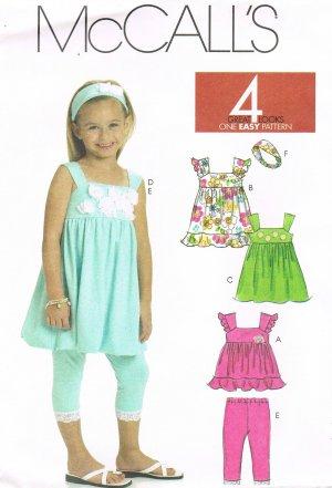 MCCALLS #6019 Uncut Sz 3-5 Gathered Top & Dresses w/Shoulder Straps & Leggings Sewing Pattern