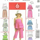 MCCALLS #5306 Uncut Toddler Sz 1-3 Ruffled Tops, Shorts and Capri Pants & Hat Sewing Pattern