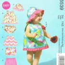 MCCALLS #6539 Uncut Infants Summer Tops, Skirt, Pants, Panties & Hat Sewing Pattern
