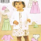BUTTERICK #3782 Uncut Infant Sleeveless Empire Dress, Button Front Jacket & Hat Sewing Pattern