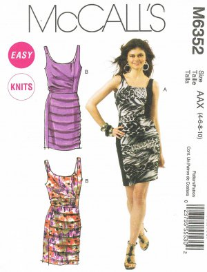 MCCALLS #6352 Uncut Sz 4-10 Sleeveless, Slim-fit, Knit Dresses; Gathered Overlay Sewing Pattern