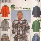 SIMPLICITY #7803 Uncut Sz Xs-Med Long Sleeve A-line Car Coat; Optional Hood Sewing Pattern