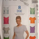 MCCALLS #8814 Uncut Sz 8-12 Back Button Semi-fit Tops w/Neckline Variations Sewing Pattern