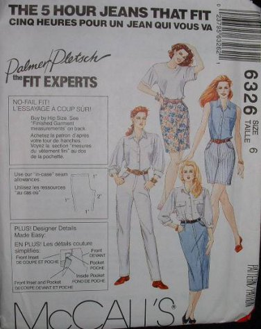 "MCCALLS #6326 Uncut Sz 6 ""Jeans that Fit"" Shorts, Skirt & Pants Sewing Pattern"