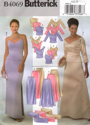 BUTTERICK #4069 Uncut Sz 6-10 Strapless, Shoulder Strap, Long Sleeve Top & Skirt Sewing Pattern