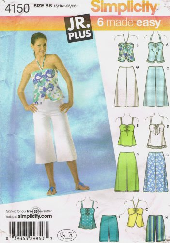 SIMPLICITY #4150 Uncut Jr Sz 15+ - 25+ Tops, City Shorts & Gauchos Sewing Pattern