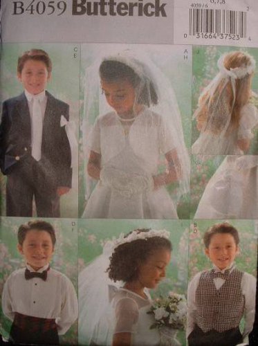 BUTTERICK #4059 Uncut Sz 2-5 Vest, Necktie, Bowtie, Cumberbund, Veil & Headpiece Sewing Pattern