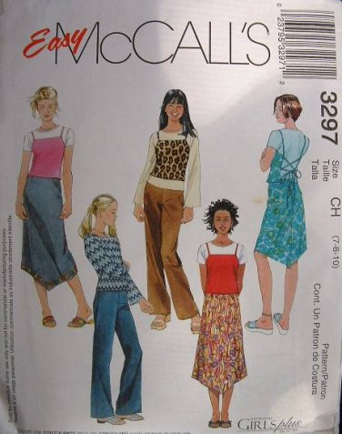 MCCALLS #3297 Uncut Sz 12-16 Girls Skirt, Pants, Tee & Top w/shoulder Straps Sewing Pattern