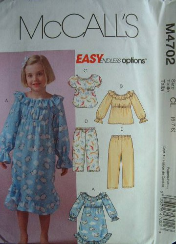 MCCALLS #4702 Uncut Sz 6-8 Girls Pullover Nightgown, PJ Tops & Pull-on Pants Sewing Pattern
