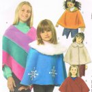 MCCALLS #5226 Uncut Sz 3-6 Girls Unlined Ponchos; Optional Hood & Shaped Hem Sewing Pattern