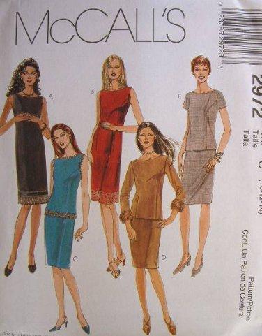 MCCALLS #2972 Uncut Sz 18-22 Sheath Dress, Top w/Bateau Neckline & Skirt Sewing Pattern