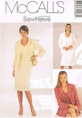 MCCALLS #3100 Uncut Sz 8-12 Sleeveless V-Neck Dress & Lined Jacket Sewing Pattern