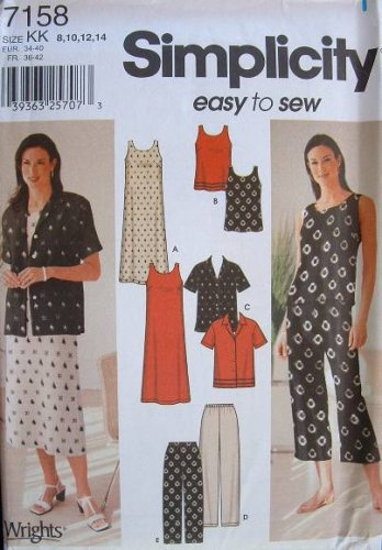 SIMPLICITY #7158 Uncut Sz 8-14 Sleeveless Dress & Top, Shirt, Pants in 2 Lengths Sewing Pattern