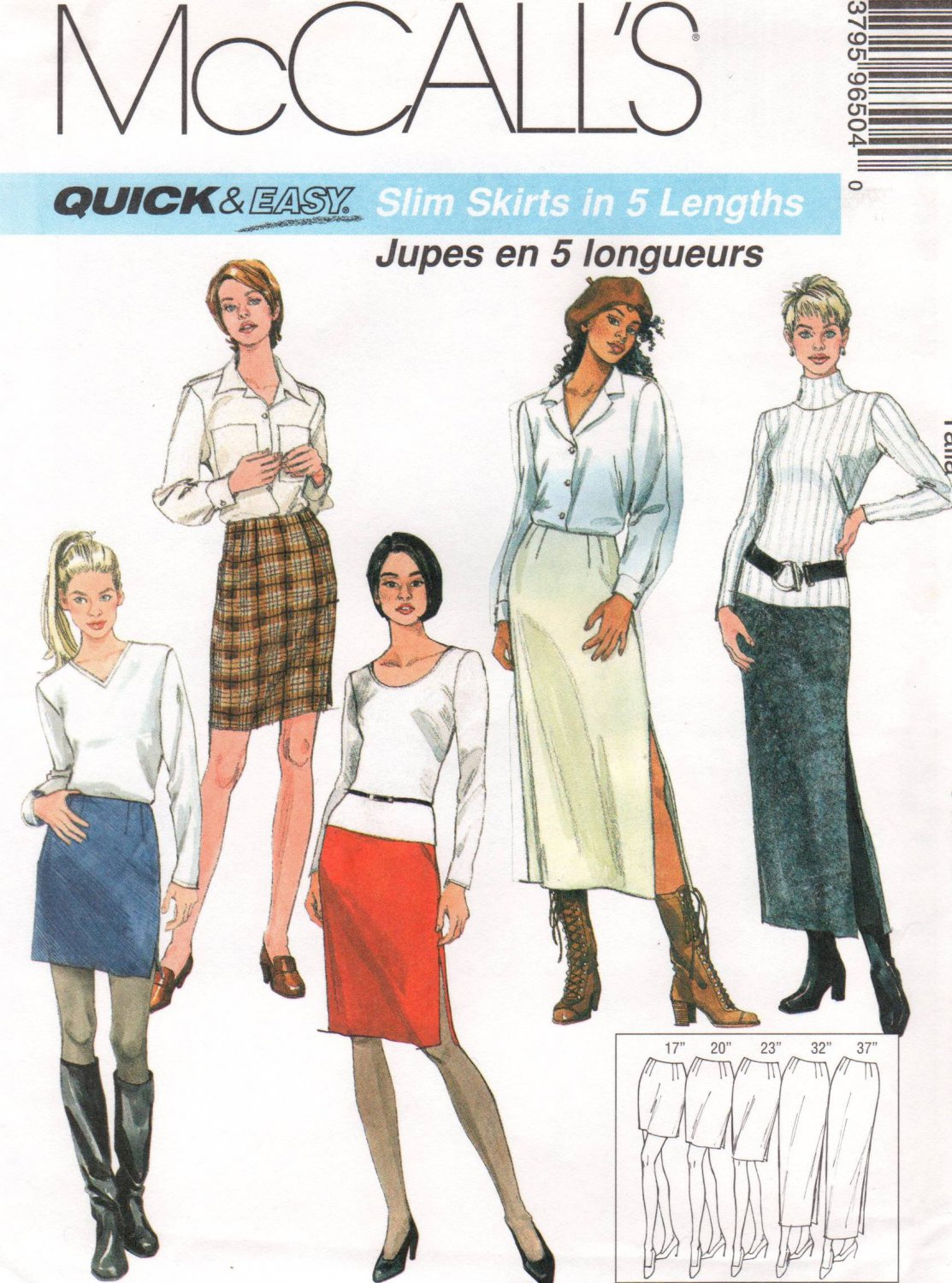 MCCALLS #9650 Uncut Sz 14-18 Slim Skirts in 5 Lengths, Optional Slit Sewing Pattern