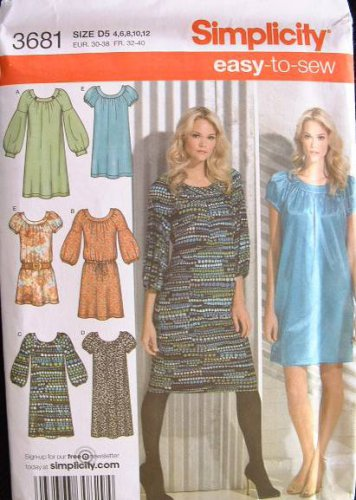 "SIMPLICITY #3681 Uncut Sz 4-12 ""Easy"" Dresses w/Sleeve & Length Variatons Sewing Pattern"