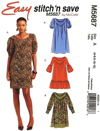 07cb54429779 MCCALLS  5687 Uncut Sz 4-12 Pullover Dress w gathered front - 2 lengths  Sewing Pattern