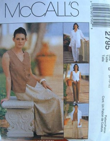 MCCALLS #2795 Uncut Sz 8-12 Sleeveless Top, Pants, Bias Skirt & Shirt Jacket Sewing Pattern