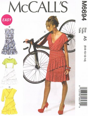 MCCALLS #6694 Uncut Sz 6-14 Pullover Knit Dresses w/Bias Ruffles Straps Sewing Pattern