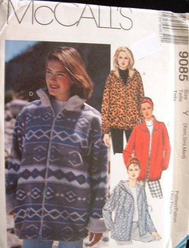 MCCALLS #9085 Uncut Sz Xs-Med Loose-fit Jacket w/Hood, Front Zipper Closure Sewing Pattern