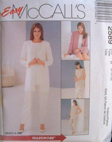 MCCALLS #2589 Uncut Sz 8-12 Unlined Jacket, Tunic, Pull-on Pants & Skirt Sewing Pattern