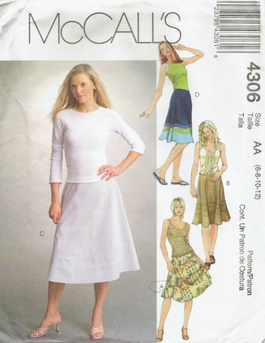 MCCALLS #4306 Uncut Sz 6-12 Semi-fit Below Mid-knee Flared Bias Skirts Sewing Pattern