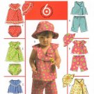 MCCALLS #5304 Uncut Infant Wrap-front Top & Dress, Panties, Capris & Hat