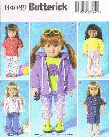 """BUTTERICK #4089 Uncut Jacket, Top, Pants, Capris & Dress 18"""" Doll Clothes"""