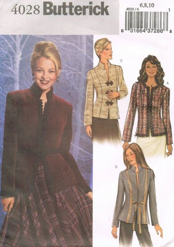 BUTTERICK #4028 Uncut Sz 6-10 Long Sleeve Fitted Hip-Length Jacket