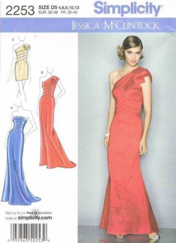 SIMPLICITY #2253 Uncut Sz 4-12 Evening/Prom Dress; Bodice & Length Variation