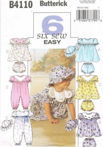 BUTTERICK #4110 Uncut Infants Dress w/Dirndle Skirt, Panties, Jumpsuit & Hat