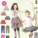 MCCALLS #6598 Uncut Sz 3-6 Girls' Below Waist Ruffled Skirts and Leggings