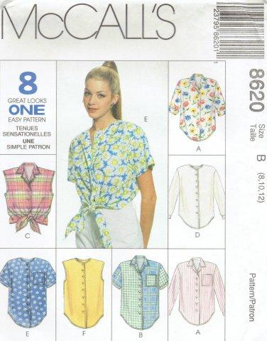 MCCALLS #8620 Uncut Sz 8-12 Sleeveless, Long or Short Sleeve Shirts Sewing Pattern