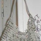 silver sequenced shoulder bag