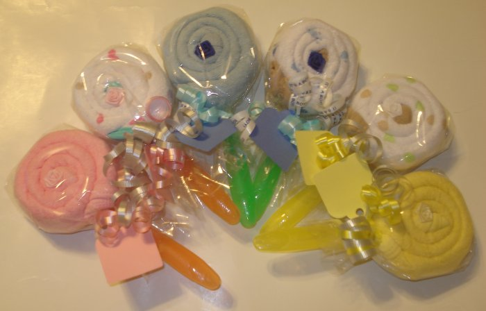 Burp Cloth Lollipop Baby Shower Favor Gift