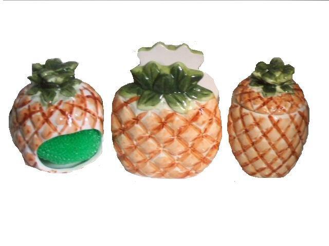 Pineapple Kitchen Accessories Tropical Napkin Holder Mini Canister and ...