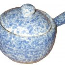 Stoneware Soup Bowl with Handle and Lid Blue White Speckled Pottery
