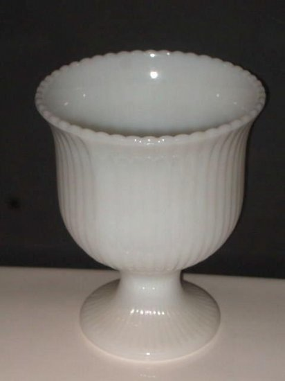 White Milk Glass Pedestal Vase EO Brody