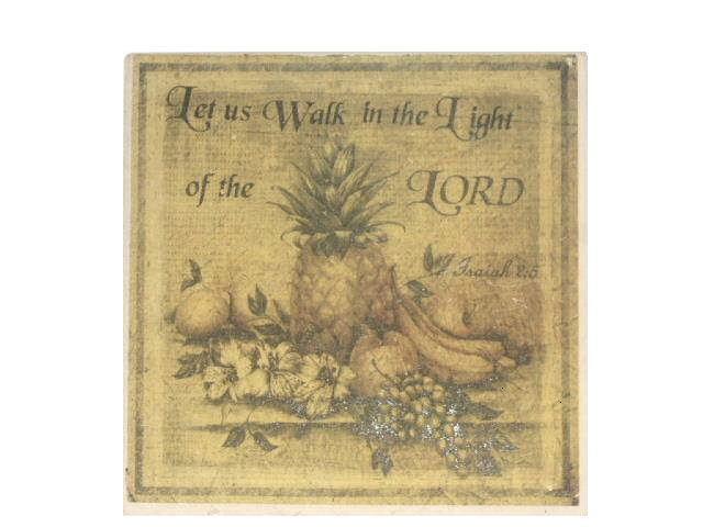 Tropical Pineapple Grapes Apples Tile Trivet Bible Verse