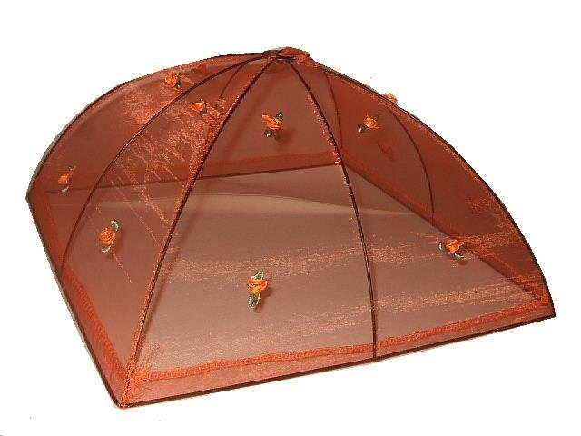 Orange Food Cover Tent Embroidered Flowers