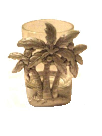 Pewter Palm Trees Candle Holder Tropical Home Decor