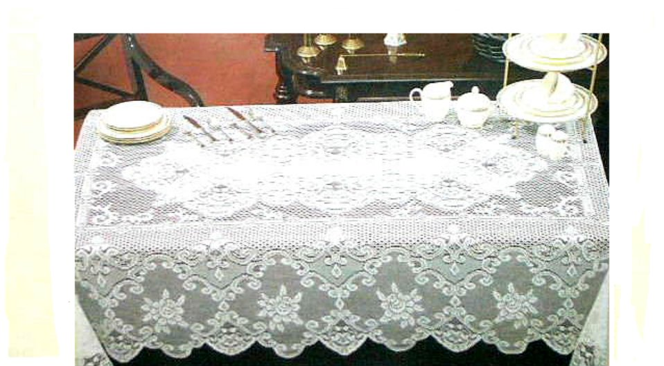 White Lace Floral Roses Tablecloth Chic Cottage Decor 52 x 70