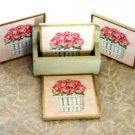 Rose Floral Coasters and Caddy Pink Roses