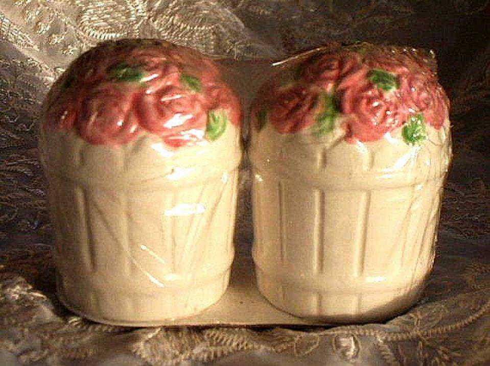 Roses Salt and Pepper Shakers Pink Rose Basket Cottage Decor