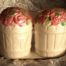 Roses Salt and Pepper Shakers Pink Rose Basket Cottage Decor